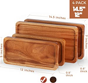 "FANICHI Serving Tray and Platter Set of 4 (14"" & 12"") Solid Natural Wood for Food Holder/BBQ/Party Buffet, Avoid Sliding Spilling Food with Easy Carry Grooved Handle Design"