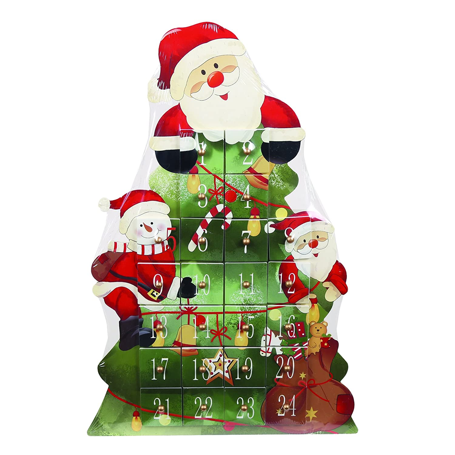 LARGE WOODEN CHRISTMAS SANTA SHAPED FESTIVE XMAS ADVENT CALENDAR 40CM TALL Straits