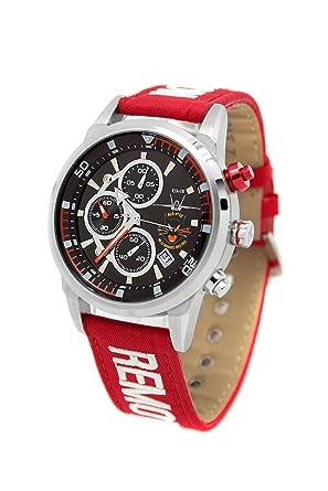 Reloj AVIADOR RBF ALA 12 AV-1060-1 con caja de acero quirúrgico, esfera negra y correa RBF roja en nylon: Amazon.es: Relojes