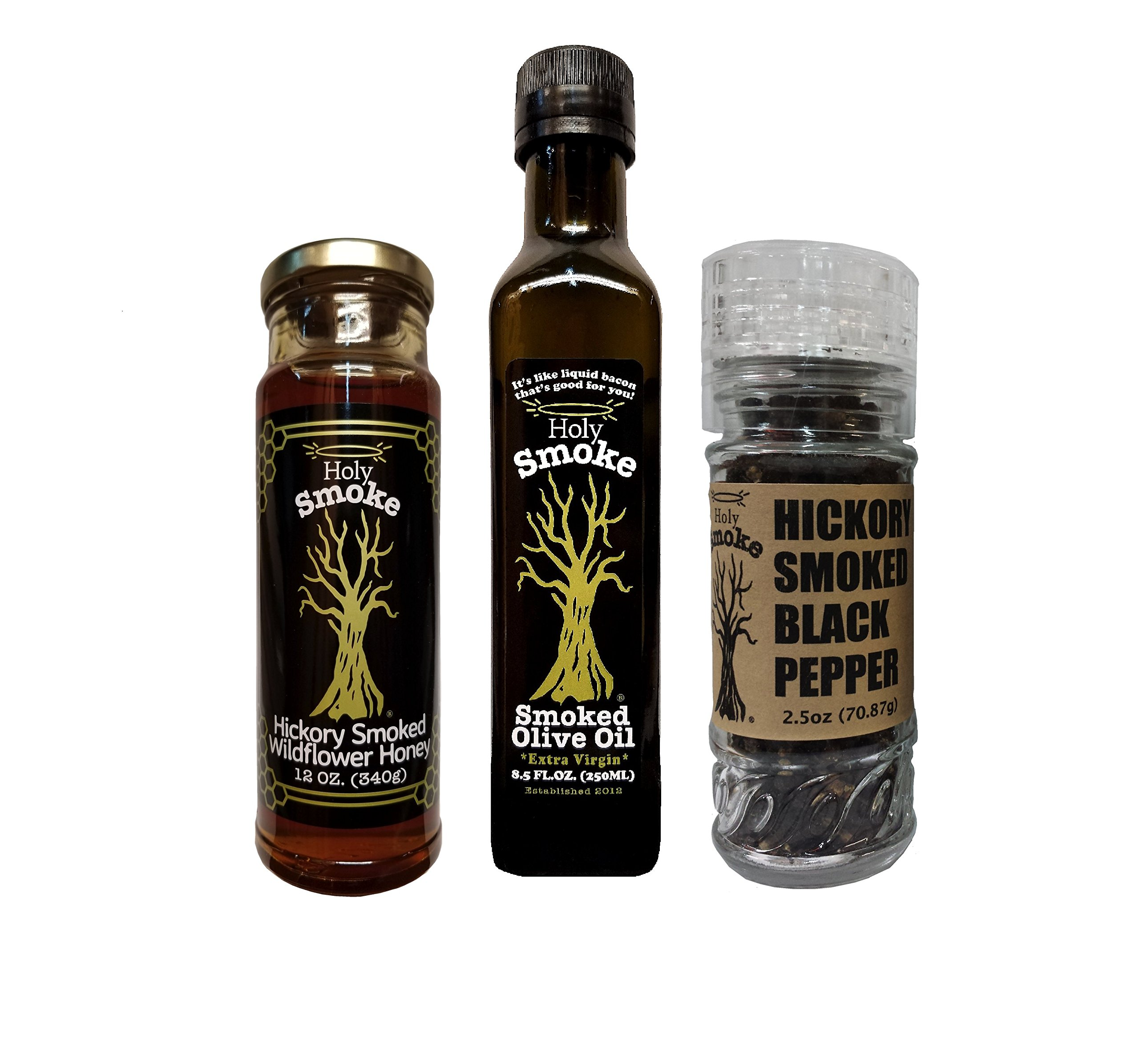Holy Smoke Family of Smoked Products Gift Set - EVOO 8.5 oz, Pepper 1.7 oz, Hickory Honey 12 oz.