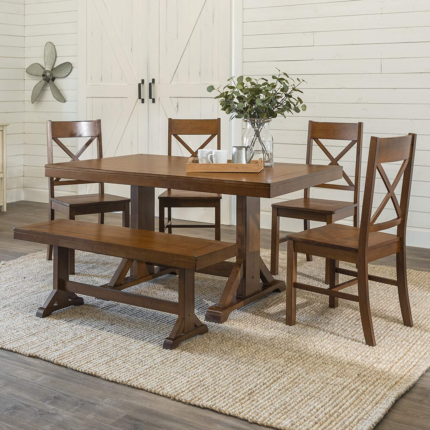 Astounding We Furniture Rustic Modern Farmhouse Wood Rectangle Dining Room Table Set Kitchen Chairs Bench 6 Piece Antique Brown Machost Co Dining Chair Design Ideas Machostcouk