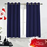 "Ponydance Thermal Insulated Top Grommets Blackout Curtains Panels for Bedroom, 46"" x 54"" (Set of 2,Navy mixed Royal Blue)"