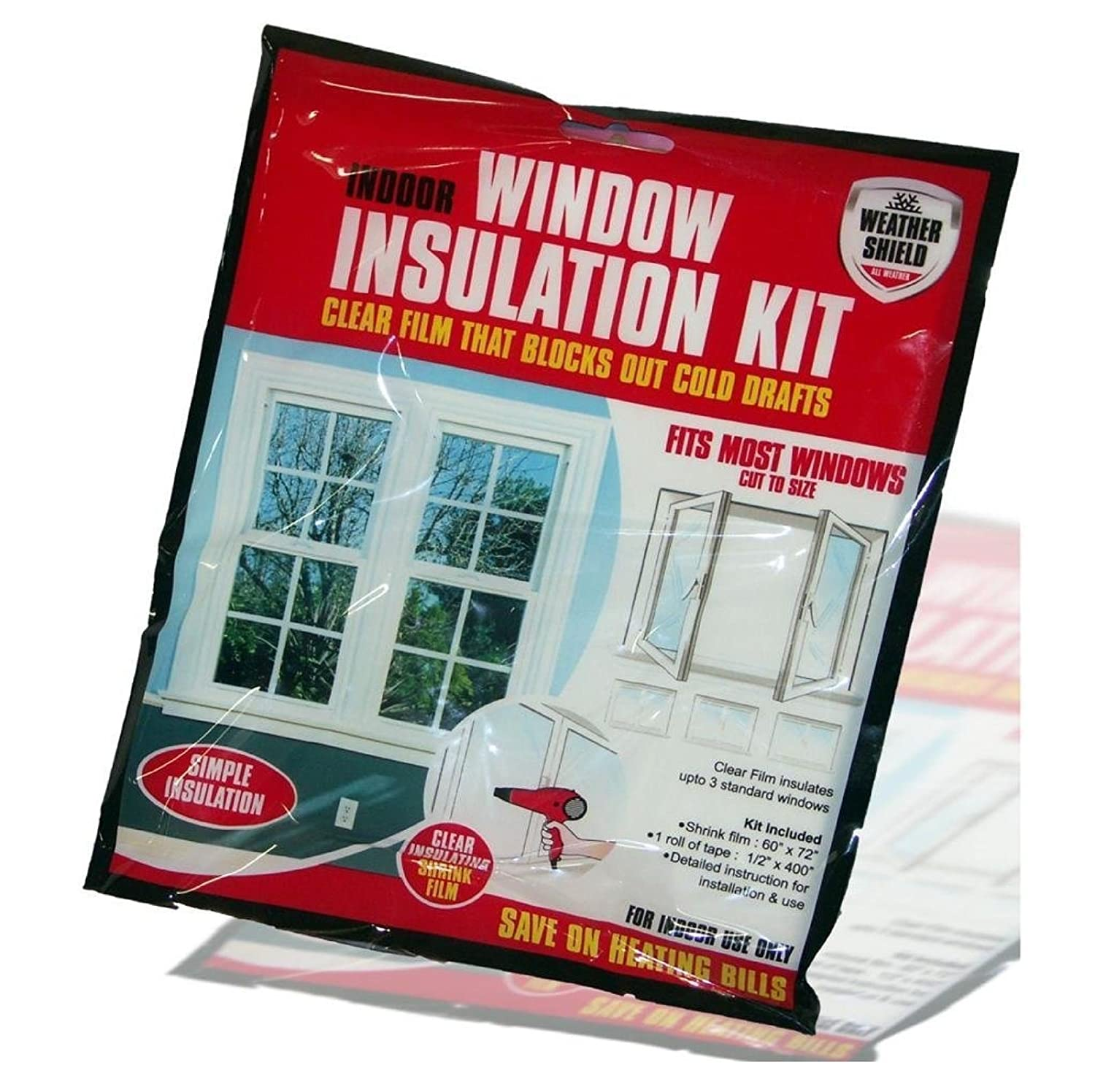 WINDOW INSULATION KIT SHRINK FIT DOUBLE GLAZING FILM DRAUGHT EXCLUDER FROST COLD (1) SONIC®