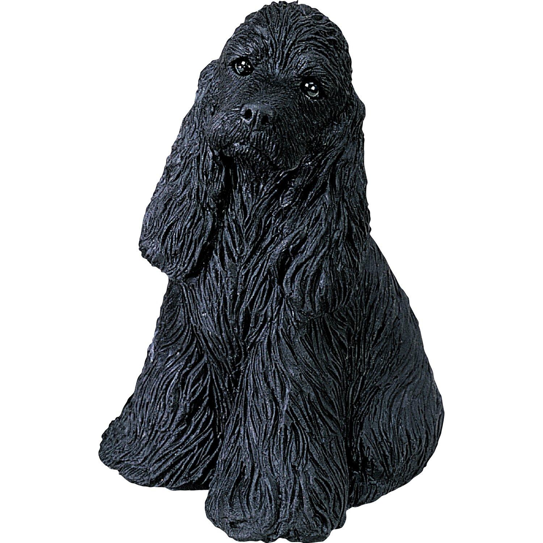 Sandicast Mid Size Black Cocker Spaniel Sculpture, Sitting