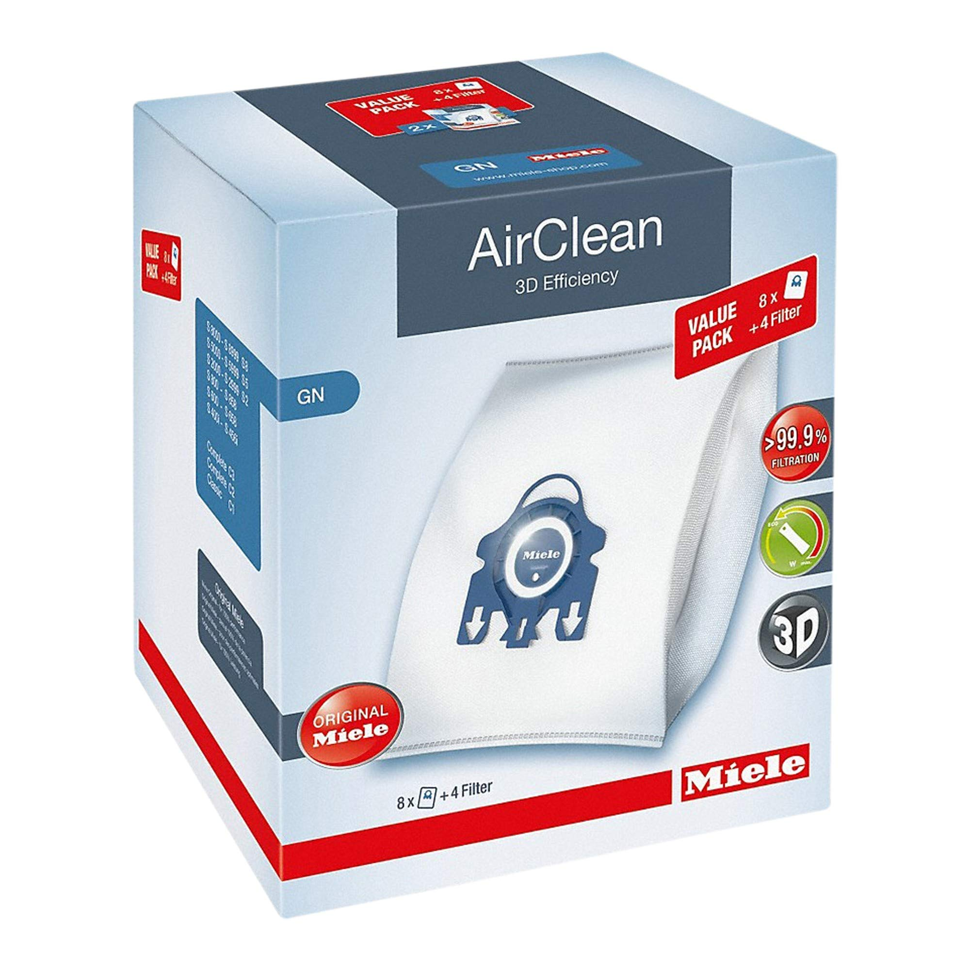 Miele AirClean 3D Efficiency Dust Bag, Type GN, XL Value Pack, 8 Bags & 4 Filters