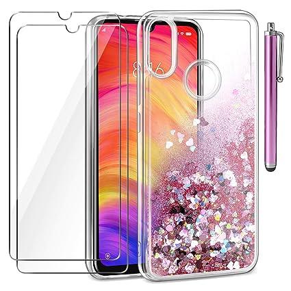 AROYI Funda Xiaomi Redmi Note 7, [2 Pack] Protector de Pantalla con lápiz de Pantalla táctil 3D, Carcasa Transparente Cristal Silicona TPU Case Cover ...