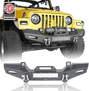 Texture Black Metal Front Bumper w// LED Lights for Jeep Wrangler TJ 1997-2006