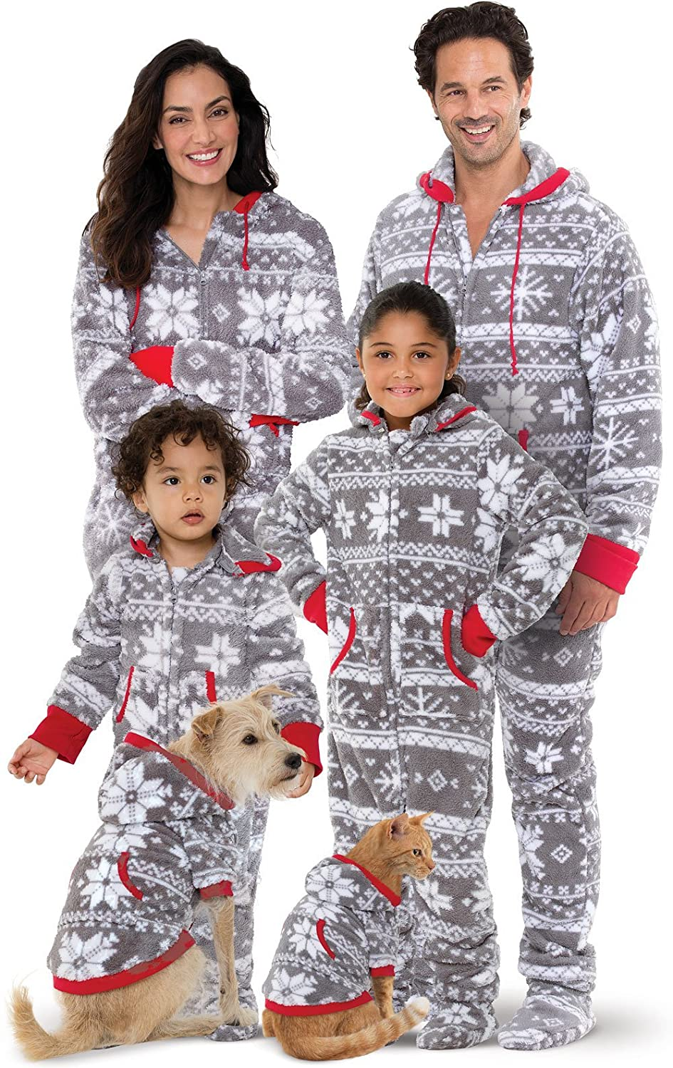 PajamaGram Family Pajamas Matching Sets - Nordic Fleece Christmas Onesie, Gray GFS014641