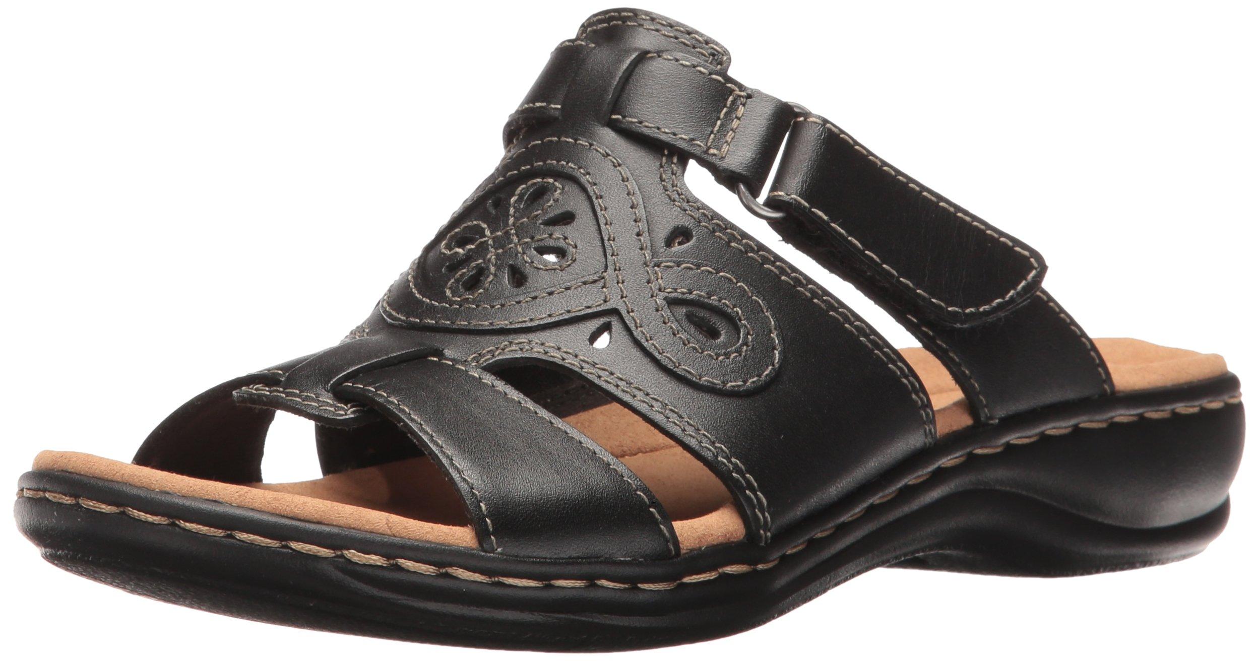 CLARKS Women's Leisa Higley Slide Sandal, Black Leather, 7.5 M US