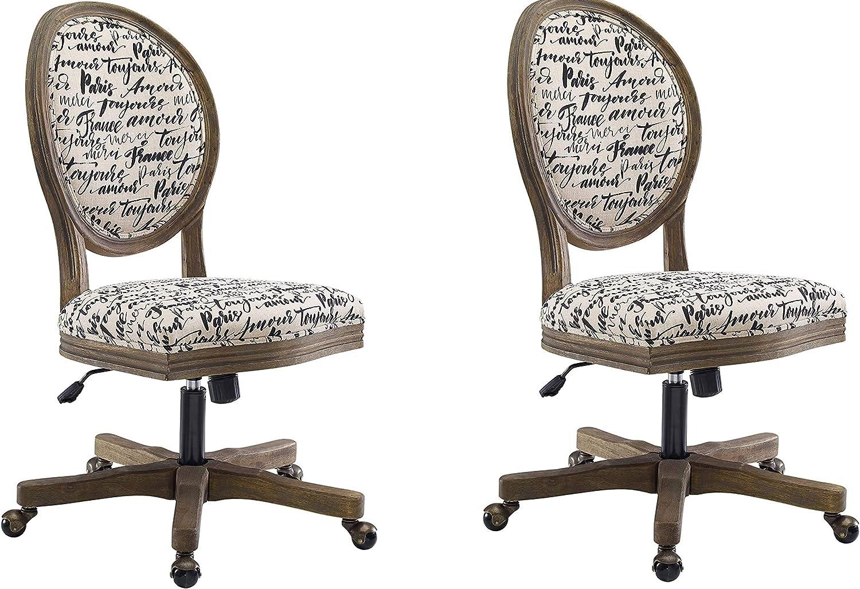 Linon Home Décor OC099PAR01U Brea Paris Office Chair, White (Pack of 2)
