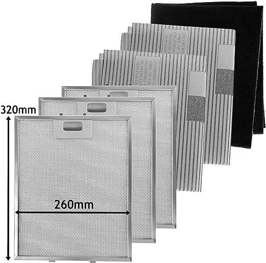 SPARES2GO Metal Mesh, Carbon + Filtros de grasa para campana extractora/ extractor de ventilación (320 x 260 mm, paquete de 6): Amazon.es: Hogar