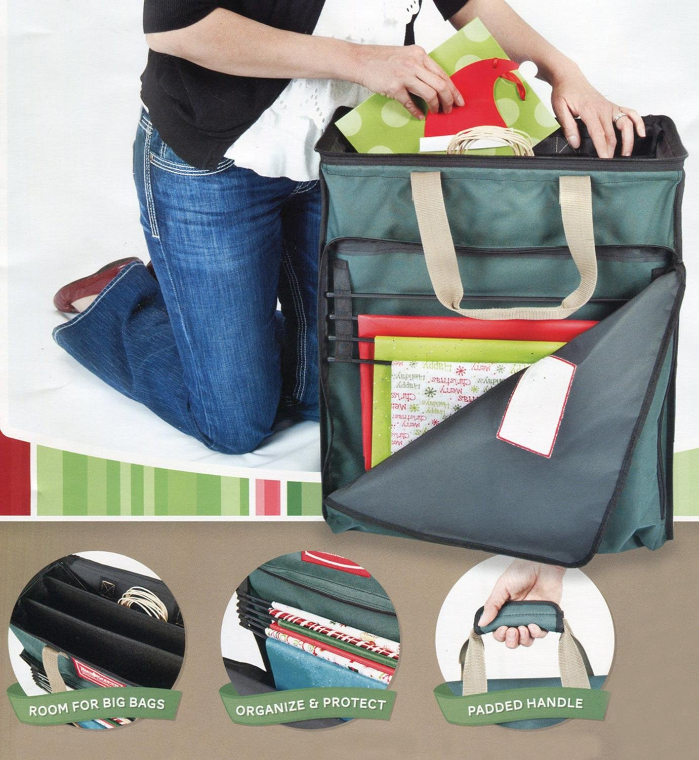 Amazon.com: Premium Christmas Tissue And Gift Wrapping Paper Storage Bag:  Home U0026 Kitchen