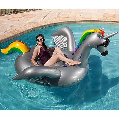Juego gigante inflable Ride-on Alicorn Unicorn Pegasus piscina flotador, Arcoiris (Rainbow)