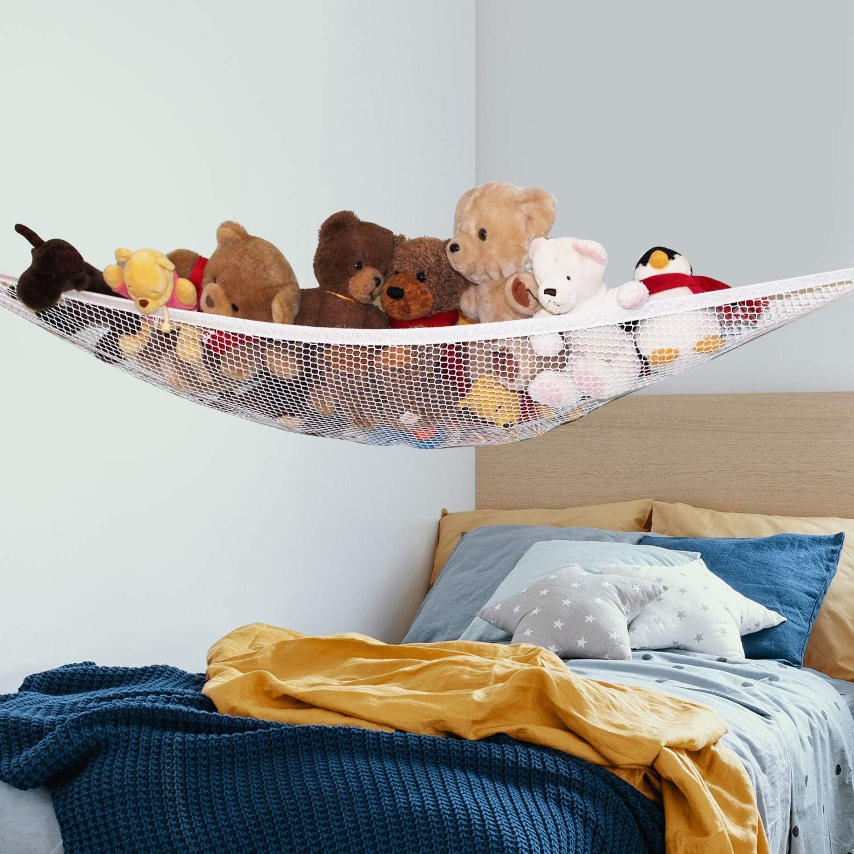 3 Pieces Stuffed Animal Hammocks Stuffed Toy Storage Hammock Nets Jumbo Wall Sling Corner Mesh Toy Organizer with Hooks for Bedroom Plush Toys