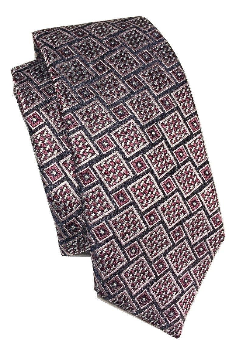 Ermenegildo Zegna Basketweave Geometric Pattern Red Wine Silk Tie
