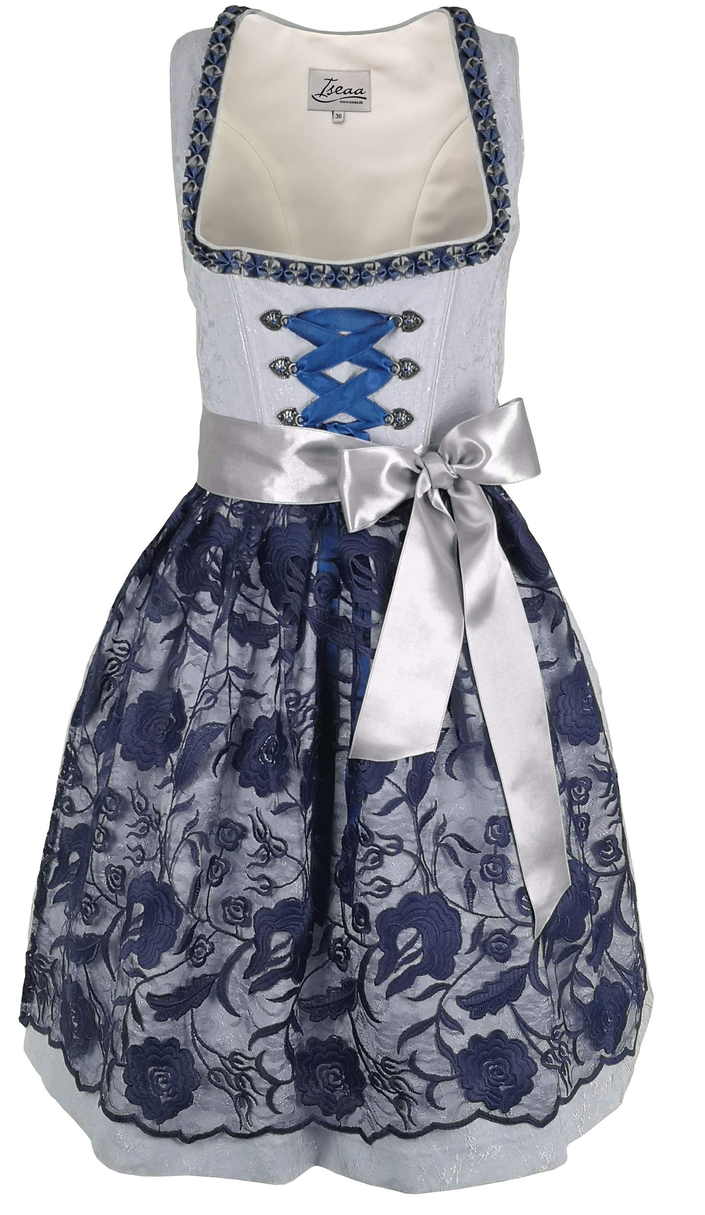 Dirndl 2 pcs.Traditional Dress Katharina in Light Blue with Apron in Dark Blue 38 by Iseaa