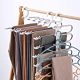 Pants Hangers Space Saving, DUSASA 2 Pack 9 in 1 Multifunctional Pants Rack with Non-Slip Clip, Multilayer Trousers Hanger St