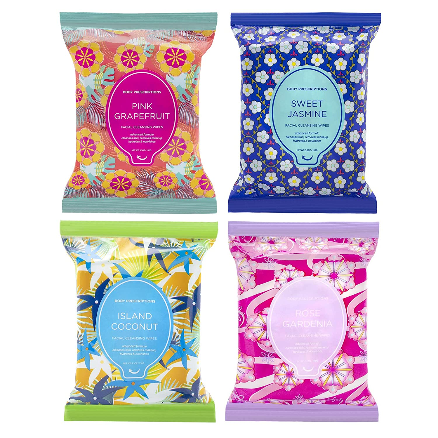 Body Prescriptions Makeup Remover Wipes Bulk, 4 Pack, 120 Facial Cleansing Cloths Removes Makeup, Mascara, Dirt and Oil (Sweet Jasmine, Rose Gardenia, Pink Grapefruit, Island Coconut)