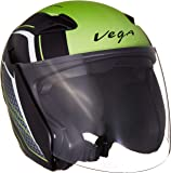 Vega Eclipse Stryk Open Face Helmet (Dull Black and Neon Green, Medium)