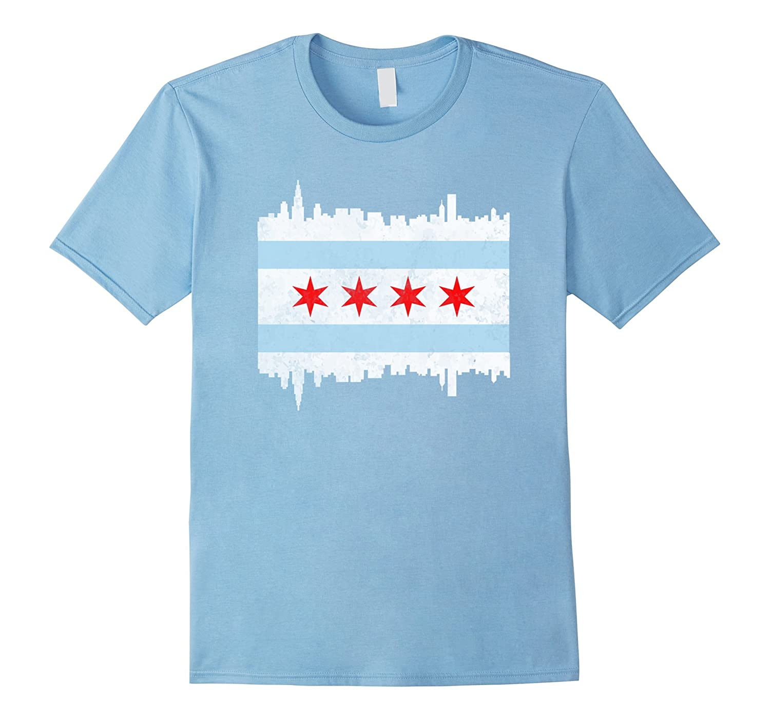 Chicago illinois flag t shirt vintage il city gift shirt for Cheap t shirt printing chicago