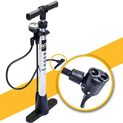 BoG Products Bicycle Floor Pump with Pressure Gauge for Presta & Schrader  valves Large Diameter for Quicker Inflation 75PSI Rating Space Saving