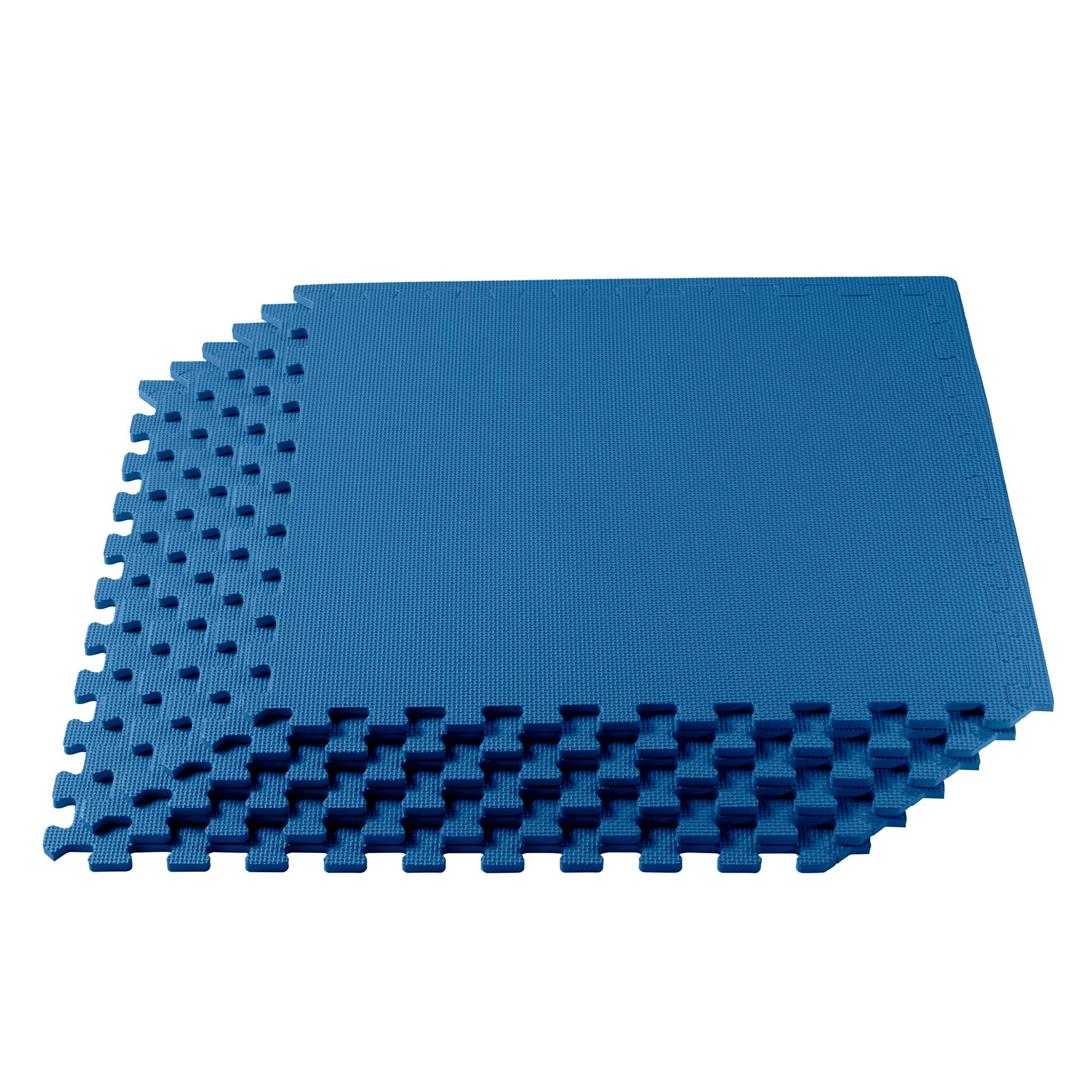 We Sell Mats Multipurpose Exercise Floor Mat with EVA Foam, Interlocking Tiles, Anti-Fatigue, for Home or Gym, 16 Square Feet (4 Tiles), 24 x 24 x 3/8 Inches, Blue