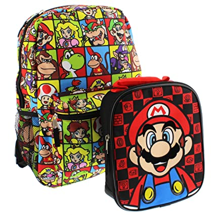 Super Mario 16 inch Backpack and Lunch Box Set