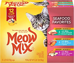 Meow Mix Seafood Favorites Wet Cat Food, Variety Pack, 2.75 Ounce Cup (Pack of 12)