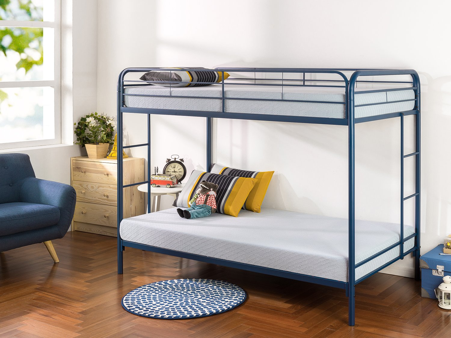 Zinus Easy Assembly Quick Lock Metal Bunk Bed Dual Ladders, Twin Over Twin, Blue