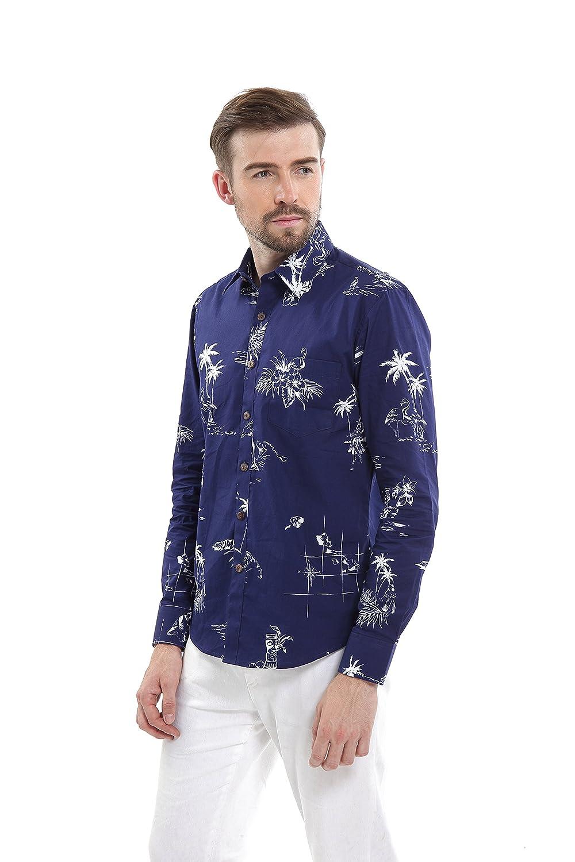 Hawaii Hangover Mens Hawaiian Long Sleeve Fit Shirt Aloha Shirt Classic Navy
