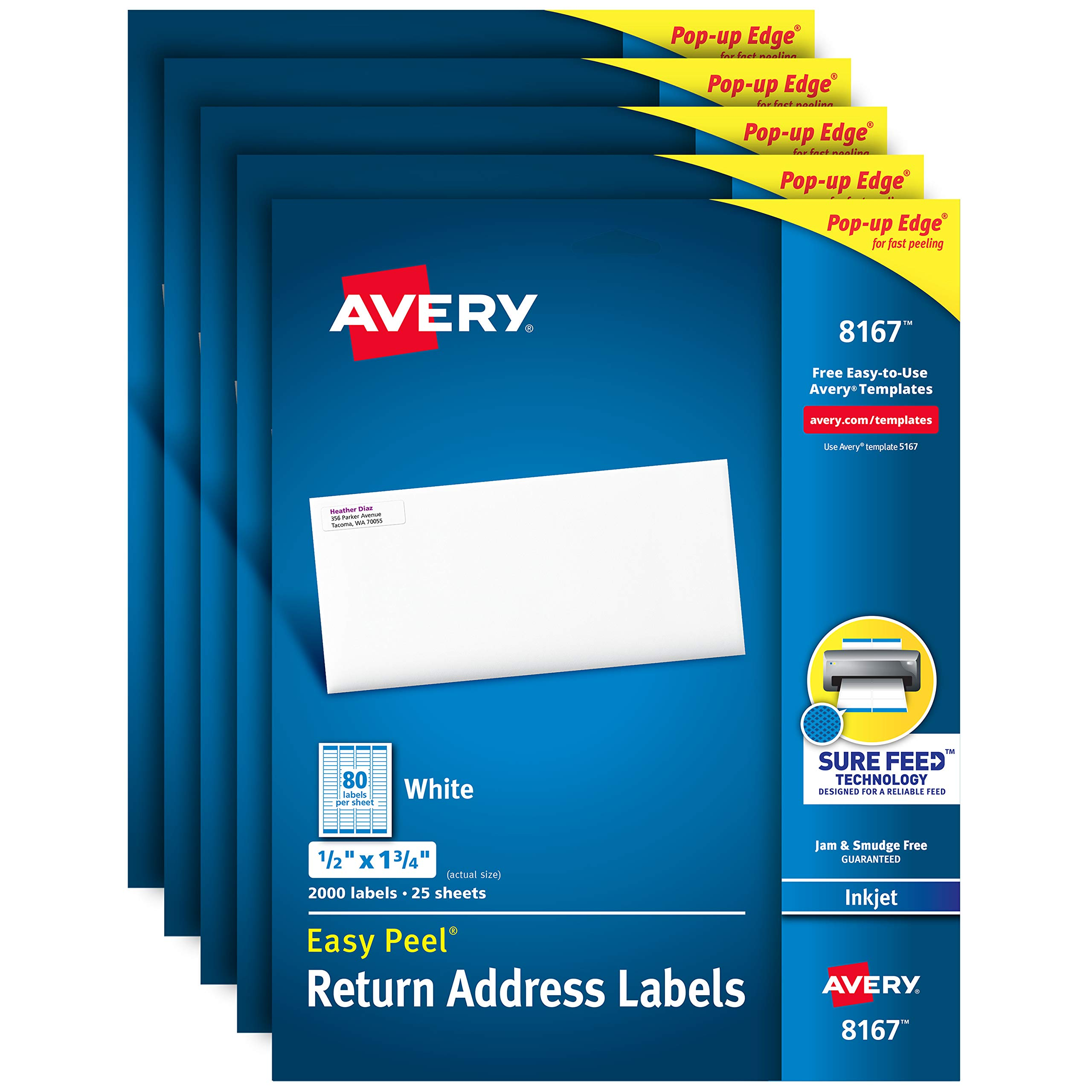 Avery Address Labels with Sure Feed for Inkjet Printers, 0.5'' x 1.75'', 10,000 Labels, Permanent Adhesive (5 Pack 8167) by Avery