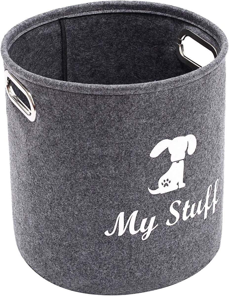 Brabtod Round Felt Pet Toy and Accessory Storage Bin Storage Basket for Home Décor - Pet Toy - Blankets - Leashes and Food