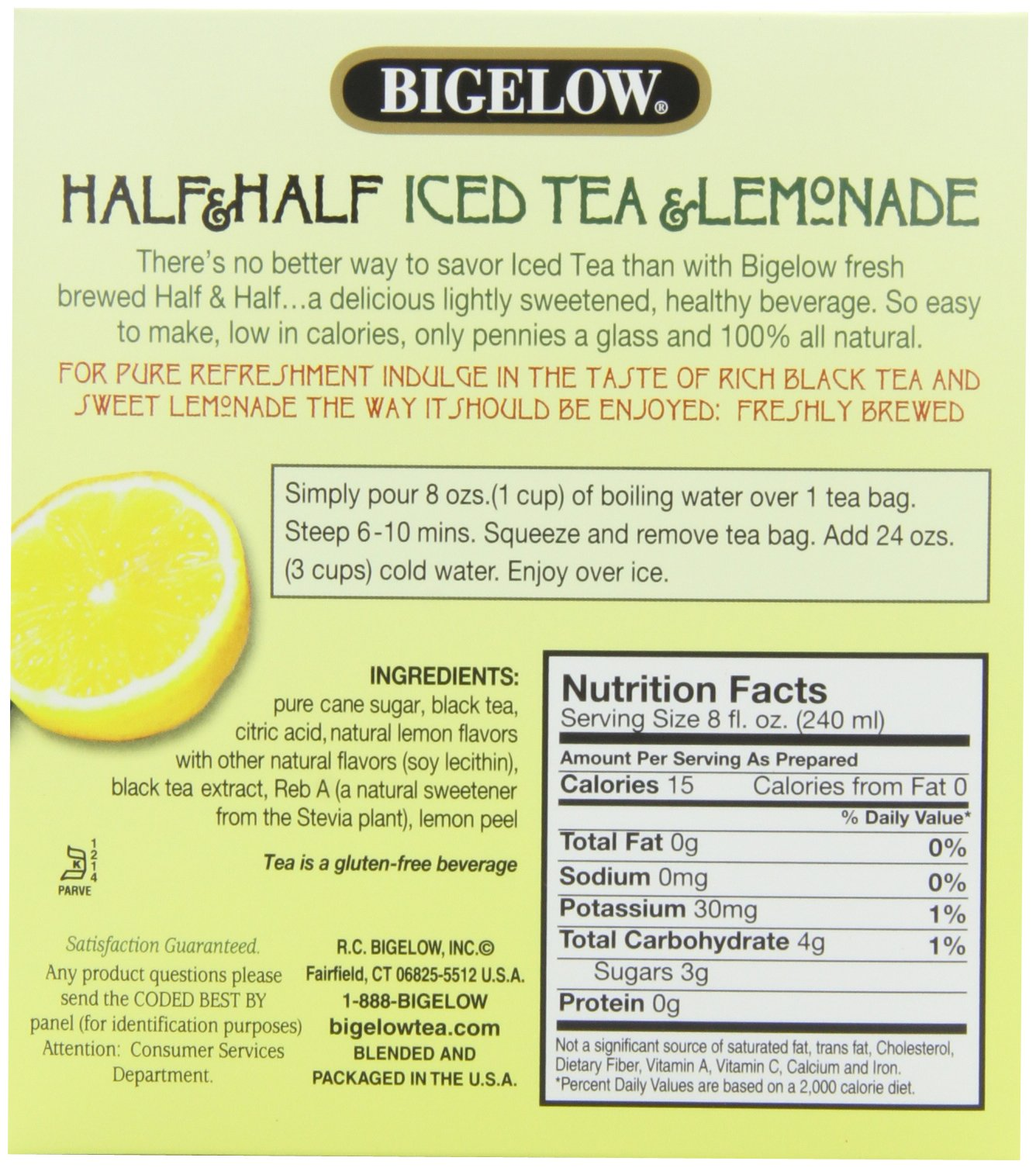 Bigelow Tea Half and Half Iced Tea and Lemonade 6-Count (Pack of 6), 36 Tea Bags Total.  Black Tea Bags for Brewing Iced Tea, Each Bag Brews One Quart of Delicious Iced Tea