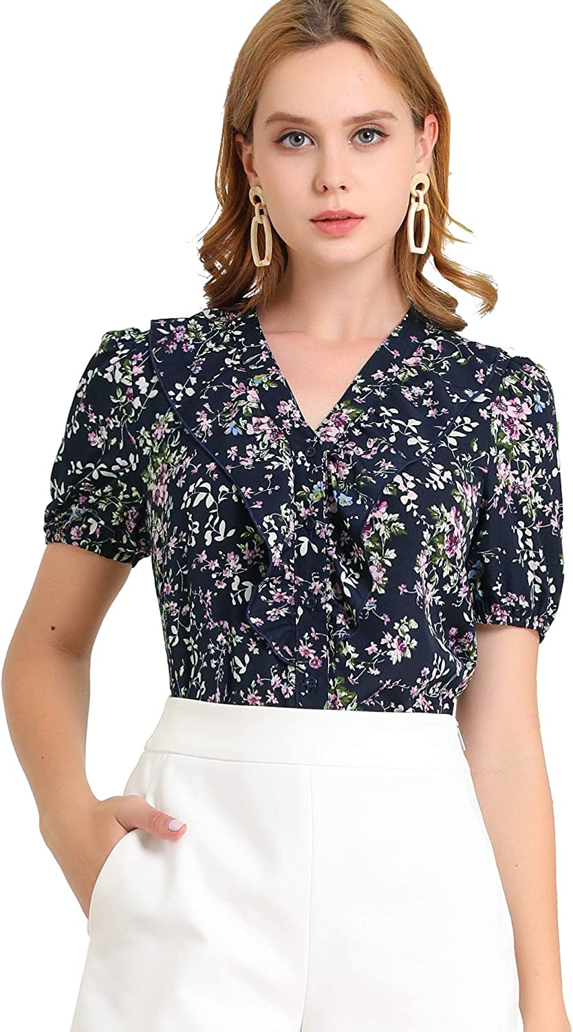 1940s Blouses and Tops Allegra K Womens Floral V Neck Blouse Puff Short Sleeves Button Front Work Shirt Top $19.99 AT vintagedancer.com