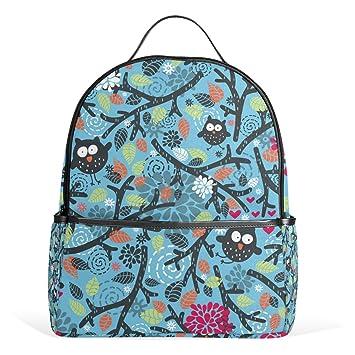 COOSUN Búhos y estampado de flores sobre fondo azul mochilas escolares mochilas para Niños Niñas Adolescentes Niños Medio Multi # 4: Amazon.es: Equipaje