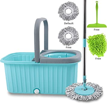 Smile Mom Spin Mop with Bucket Set, Easy Wheels for Best 360 Degree Floor Cleaning, 2 Refill Head and Free Microfiber Glove + Free Kitchen Wiper