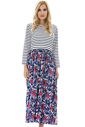 6982a9ce0d8a4 Bearsland Women's Long Sleeve Maternity Dress Floral Nursing Breastfeeding  Dress with Pockets,bluered,M
