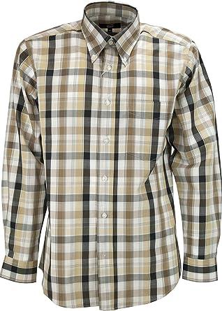 el Hombre de Camisa Clásico Marrón a Cuadros Beige EN Blanco popelina - Botón-Abajo - Grino