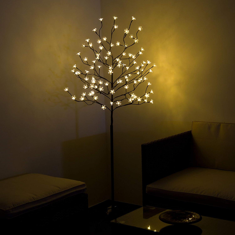 96 LED Baum mit Blüten Blütenbaum Lichterbaum warm weiß 150 cm hoch ...
