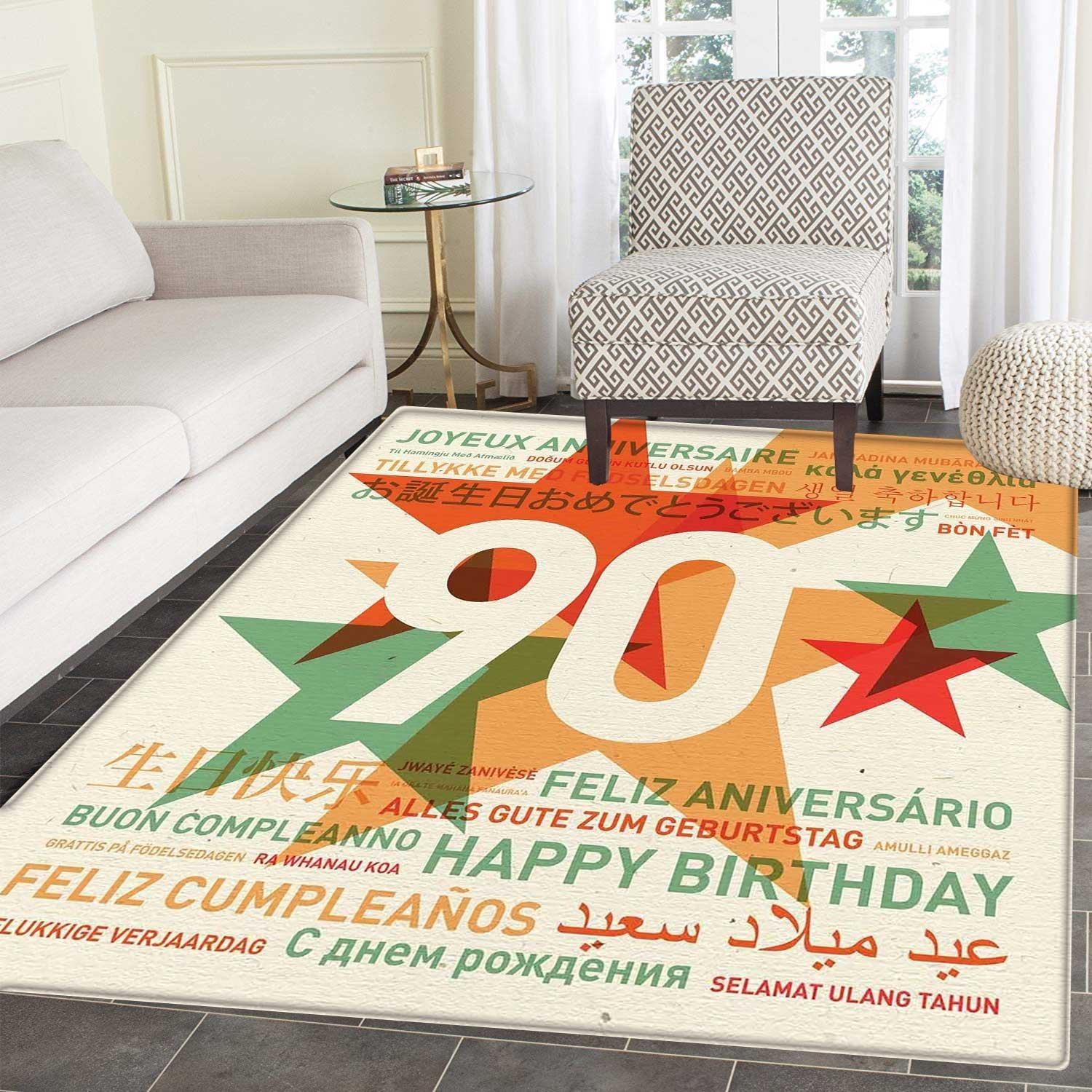 90th Birthday Dining Room Home Bedroom Carpet Floor Mat Old Age  Celebrations from the World Languages and Stars in Vintage Style Non Slip  rug 5 x6  ... a65c0cee5