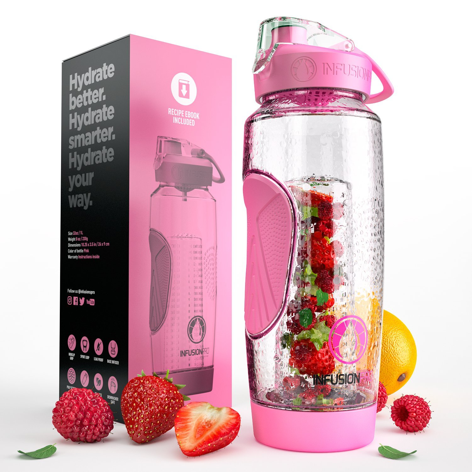 Infusion Pro 32 oz. Water Infuser Bottles Insulated Sleeve & Infused Water eBook :: Bottom Loading, Large Cage More Flavor & Pulp Strainer :: Delicious, Healthy Way to up Your Water Intake