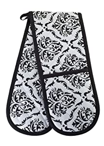 KreativeKitchenry Smart Home, Classic Black, 1 Piece, Long Double Oven Mitts Gloves, Heat Resistant, 100% Cotton, Extra Thick, Quilted