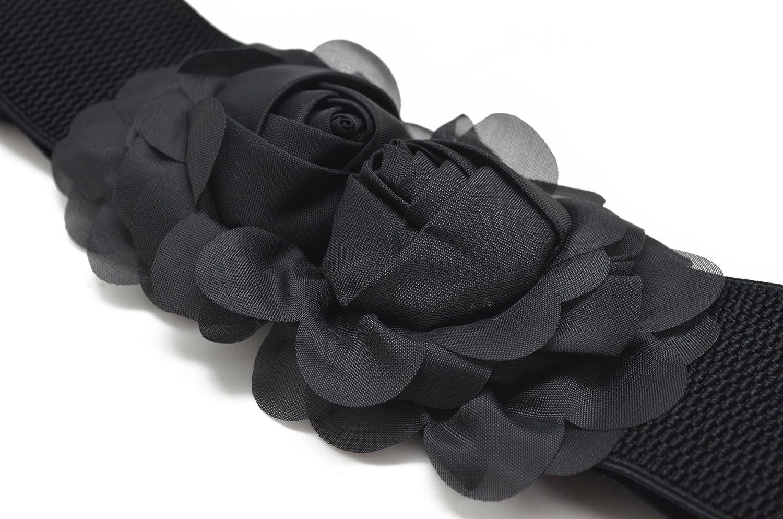 Meta-U - Cinturón ancho elástico con flores para mujer FLW00102 ... 0d03342150