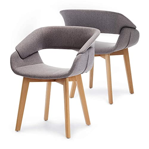 Ivinta Modern Living Dining Room Accent Arm Chairs Set of 2 Linen Fabric Mid-Century Upholstered Side Seat Club Guest with Solid Wood Legs Grey