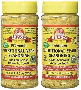 Bragg Premium Nutritional Yeast Seasoning Shaker Top, 4.5 ounce, 2 Pack
