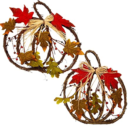 Fall Harvest Thanksgiving 2 Piece 3 Leaves Cluster Wall Hanging D/écor Set