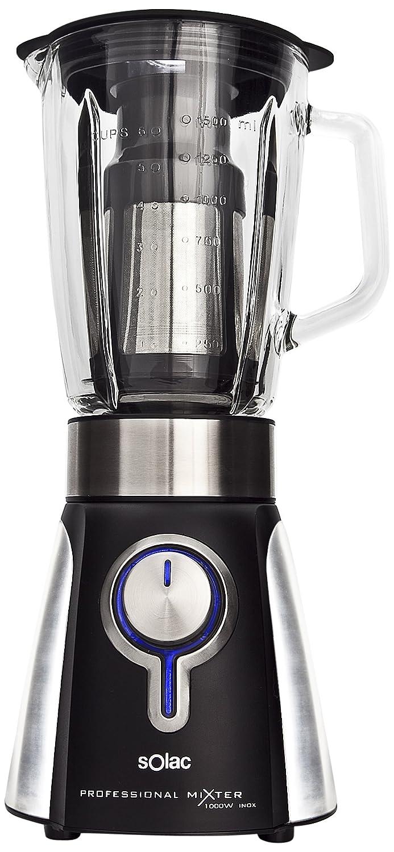 Solac BV5722 BV5722-Batidora de Vaso, Cristal, Color, 1000 W, 1.5 litros, Vidrio, 5 Velocidades, Negro y plateado