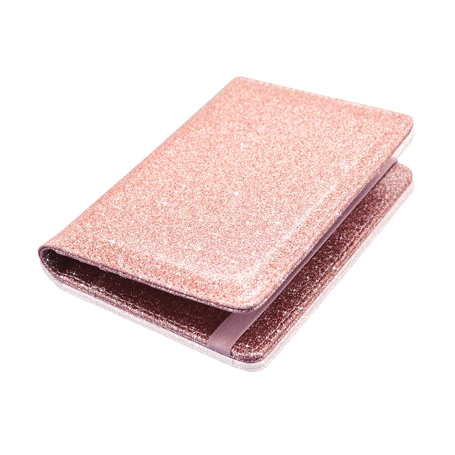 Passport Holder Cover, ACdream Travel Leather RFID Blocking Case Wallet for Passport with Elastic Band Closure, Rose Gold Glitter by ACdream (Image #7)