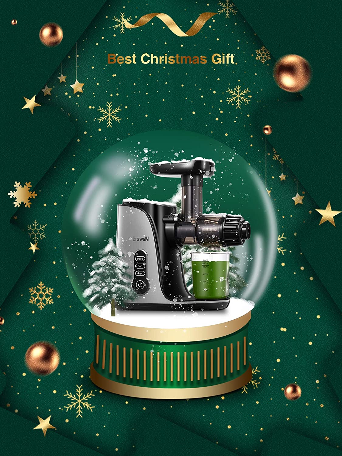 Easy to Clean /& High Juice Yield Brewsly 2-Speed Masticating Juicer Cold Press Slow Juicer Extract Fruits and Vegetables BPA Free Juicer Machines Juice Recipes for Fresh Juice