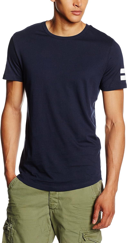 Jack /& Jones T-shirt grande girocollo a maniche corte Uomo Nero//Bianco//Navy Polo Nuovo